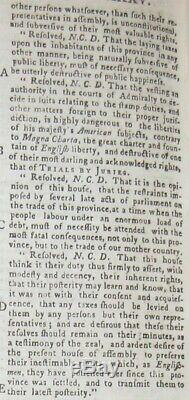 1765 GENTLEMAN'S MAGAZINE STAMP ACT November NO TAXATION WITHOUT REPRESENTATION