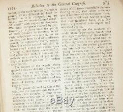 1774 LONDON MAGAZINE December CONTINENTAL CONGRESS REVOLUTIONARY WAR BOSTON PA