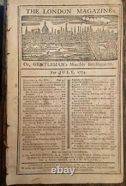 1774 LONDON MAGAZINE July BOSTON TEA PARTY REVOLUTIONARY WAR SLAVERY LIBERTY