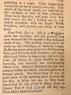 1774 LONDON MAGAZINE Revolutionary War BOSTON TEA PARTY NEW YORK FREEDOM PRESS