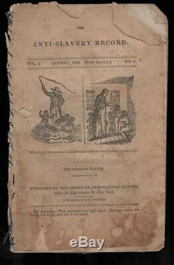 1835 original The Anti-Slavery Record Vol 1, No 8 August abolitionist slave