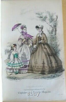 1863 ENGLISH WOMAN domestic magazine 12 hand COLOUR FASHION PLTS englishwomans