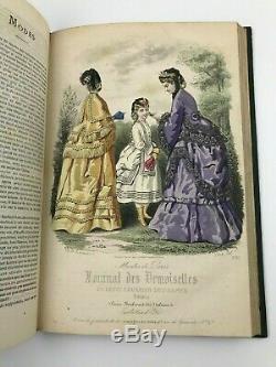 1871 Journal des Demoiselles Hand Coloured Fashion Plates Victorian Magazine
