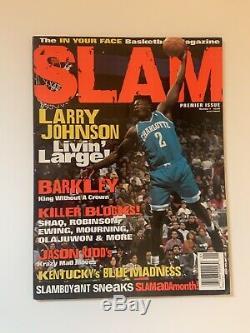 1994 Slam Magazine Premier Issue Larry Johnson Front Cover