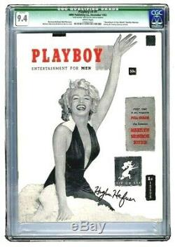 2 HIGHEST CGC GRADED HUGH HEFNER AUTOGRAPHED 1953 #1 PLAYBOYS with WHITE Pages