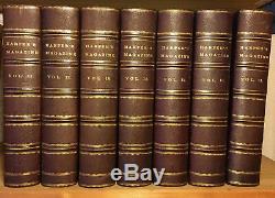 7 Volume Set, FINE LEATHER Bound, Matching, Harper's New Monthly Magazine -1/3