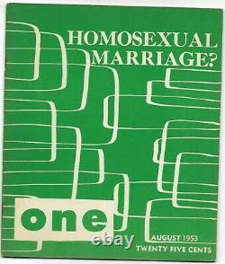 August 1953 one magazine gay lesbian interest homosexual viewpoint vol 1 # 8