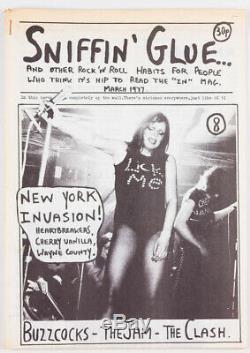 Buzzcocks JOHNNY THUNDERS Wayne County SNIFFIN'GLUE March 1977 punk fanzine zine