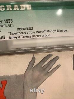 CGC 5.0 DECEMBER 1953 PLAYBOY #1 HUGH HEFNER & MARILYN MONROE Missing Centerfold