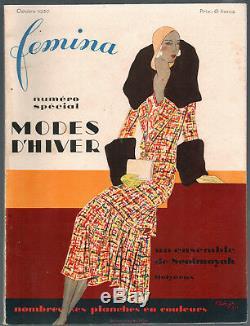 FEMINA Magazine October 1930 Benigni Vintage French Fashion Art Deco