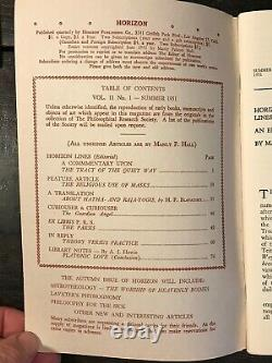 MANLY P. HALL HORIZON JOURNAL Full YEAR, 4 ISSUES, 1951 PHILOSOPHY OCCULT