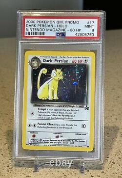 Pokemon Card Dark Persian Holo PSA Mint 9, Nintendo Magazine Promo #17