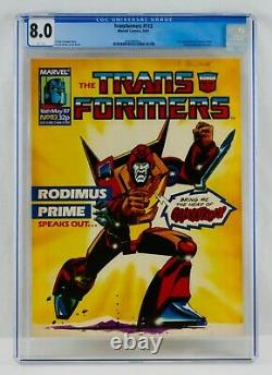 TRANSFORMERS #113 CGC 8.0 White Pages Marvel UK Magazine First Death's Head App