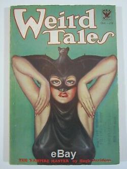 WEIRD TALES October 1933 Howard Conan Iconic Brundage Batwoman Cover! Nice Book
