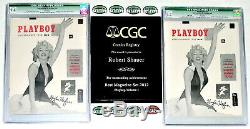 WORLD'S 2 HIGHEST CGC GRADED HUGH HEFNER AUTOGRAPHED #1 PLAYBOYS withWHITE Pages