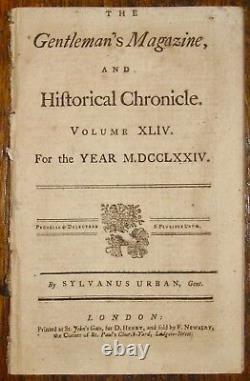 1774 Gentleman's Magazine Continental Congress Tax Tea Stamp Act Smallpox Burke