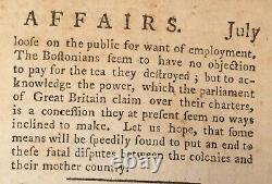 1774 London Magazine Juillet Boston Tea Party Revolutionary War Slavery Liberty