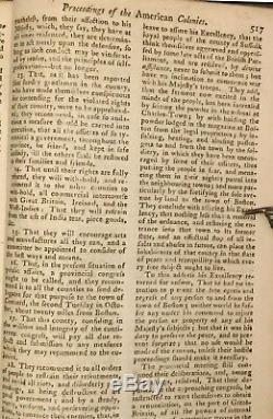 1774 Magazine Stamp Novembre Gentleman Act Boston Tea War & C Revolutionnaire
