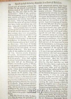 1775 Gentleman Magazine Jan / Feb Amérique État De La Rébellion De Guerre Revolutionnaire
