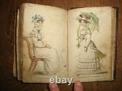 1826 Ladies Pocket Magazine Miniature Leather Book, Color Plates, Before Godey's