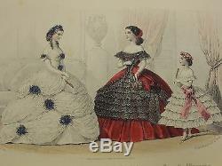 1860 Domestic Magazine Mode Pour Femmes Plaques De Couleurs Victorian Fine Binding Set