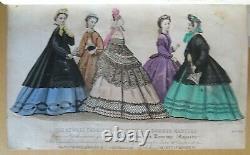 1863 English Woman Domestic Magazine 12 Hand Colour Fashion Plts Anglaises