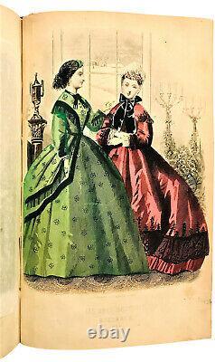 1864 Peterson's Magazine Leather Bound 12 Numéros Jan-dec Année Américaine De La Guerre Civile
