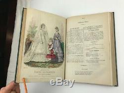 1870 Journal Des Demoiselles Colorisée Mode Magazine Plaques Victorienne