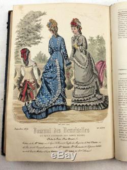 1876 journal Des Demoiselles Plaques Main De Mode Couleur Magazine Victorienne