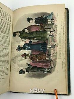 1877 Journal Des Demoiselles Colorisée Mode Magazine Plaques Victorienne