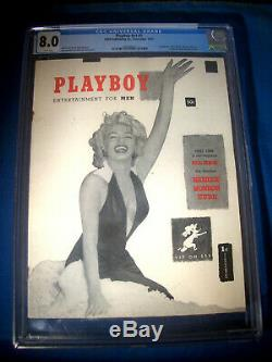 1953 Playboy V1 # 1 Hmh Cgc Graded 8.0 Vf Marilyn Monroe Pages Blanches