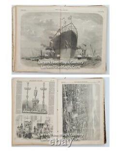 Antique En 1858 The Illustrated London News Magazines Bound Janvier À Juin