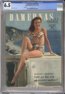 Damernas Varld #28 Cgc 6.5 1947 Norma Jeane Couverture Rare, Rare Marilyn Monroe