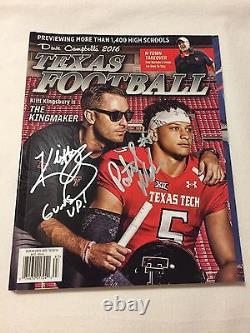 Dave Campbells Texas Football Magazine Signé Par Kliff Kingsbury Patrick Mahomets