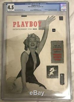 Décembre 1953 Playboy V1 # 1 Cgc Classé 4.5 Vg / Fn Marilyn Monroe
