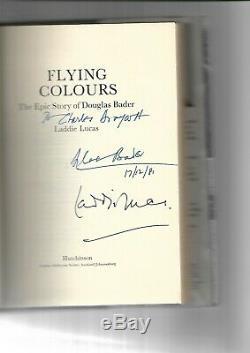 Douglas Bader / Laddie Lucas Signée À La Main Livre À Couverture Rigide Flying Colors 1st Edition