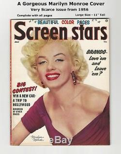 Écran Marilyn Monroe Etoiles Superbe Couverture! Rare Edition High Grade 1956