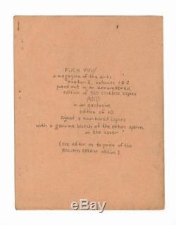 Ed Sanders Fuck You No 5 Vol 2 / Première Édition 1965