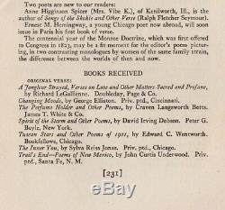 Ernest Hemingway Début Poésie A Magazine Verse Janvier 1923 Vol XXI No IV