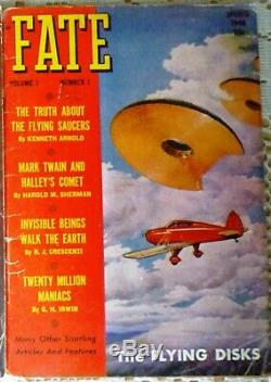 Fate Magazine Vol 1 No. 1 Printemps 1948 1er Rare Disques Flying Saucers 45pg Article