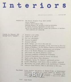 Interiors Magazine Andy Warhol Cover Design Février 1954 Rare Art Annonce