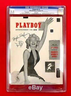 Les 3 Plus Précieux Hugh M. Hefner Original Signé 1953 Cgc # 1 Playboys Dans Le Monde
