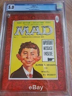 Mad # 1 Édition Bd Magazine Uk Première Édition Cgc 5.0 Grade Le Plus Élevé Sur Le Recensement