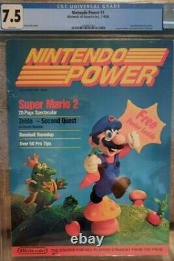 Nintendo Power #1 Cgc Classé 7.5 Juillet/août 1988 Super Mario 2 Zelda Vga Wata