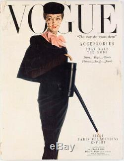 Paris 1er Rapport Accessoires Mode Collections Vtg Magazine Américain Vogue Mars 1950