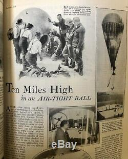 Popular Science Août 1931 Auguste Piccard 10 Miles High Air Balloon Flat Earth