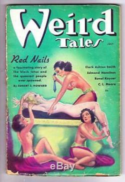 Pulp Weird Tales Juillet 1936 Robert E. Howard Conan Red Nails Première Partie Vg