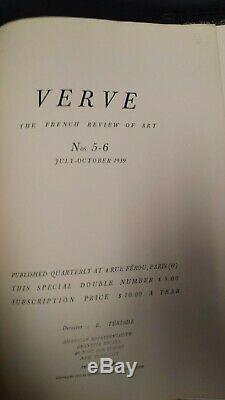 Rare Verve Magazine # 5-6 1939 A. Couverture Maillol Lithographies Revue Française De Art