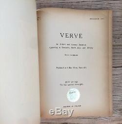 Verve Art Magazine Matisse Couverture Vol. 1 No. 1 Décembre 1937 Première Édition