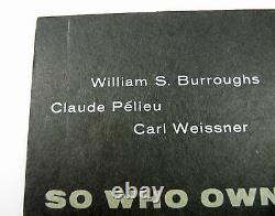 William Burroughs Pelieu Weissner So Who Owns Death Tv 1st Ed Black Wraps 1967
